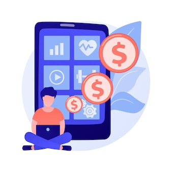 健康とウェルネスのモバイルアプリ。モバイルアプリケーション開発に投資する男性キャラクター。スポーツ、フィットネス、幸福。クラウドファンディングプラットフォーム。
