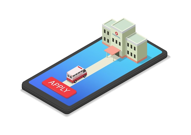 스마트폰에 아이소메트릭 병원과 구급차가 있는 건강 앱 그림