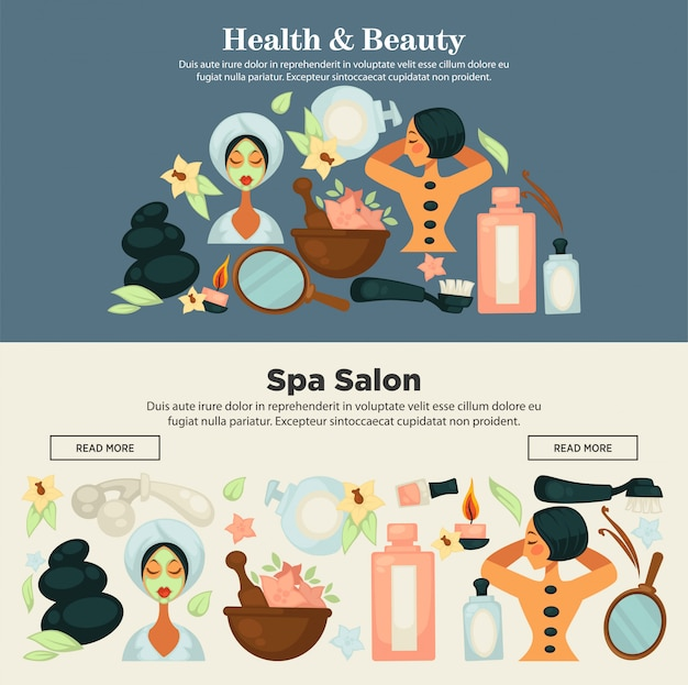 Health and beauty prosedures at spa salon promo banner