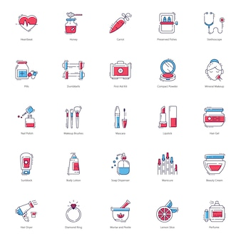 Health, beauty, spa icons pack