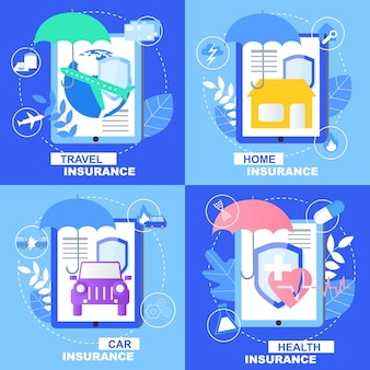 Health car home travel insurance banner set with shield umbrella sign