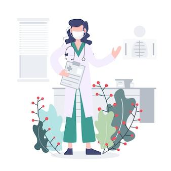 ヘルスケアと医療の概念。医者はcovid-19パンデミックコロナウイルスの大発生と戦います。