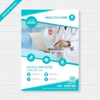 Health care and medical cover A4 flyer design template