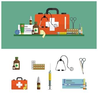 건강 관리 및 의료 평면 그림. 응급 처치 세트 및 디자인 요소. 의료 도구, 마약, 가위, 청진기, 주사기.