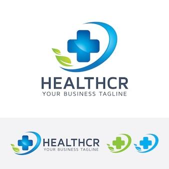건강 관리 및 더하기 기호 로고 템플릿