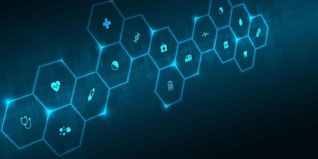 ヘルスケアと科学のアイコンパターン医療イノベーションコンセプト背景ベクトルデザイン。