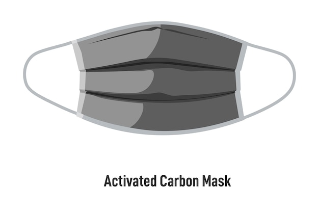 전염병 및 코로나바이러스 발생 시 건강 관리 및 건강 유지. 스트랩이 있는 활성탄 마스크. 통기성 소재로 격리된 얼굴 가리개. 보호 조치, 평면 스타일의 벡터