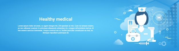 Health care application concept web horizontal banner