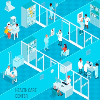 Health care center isometric composition