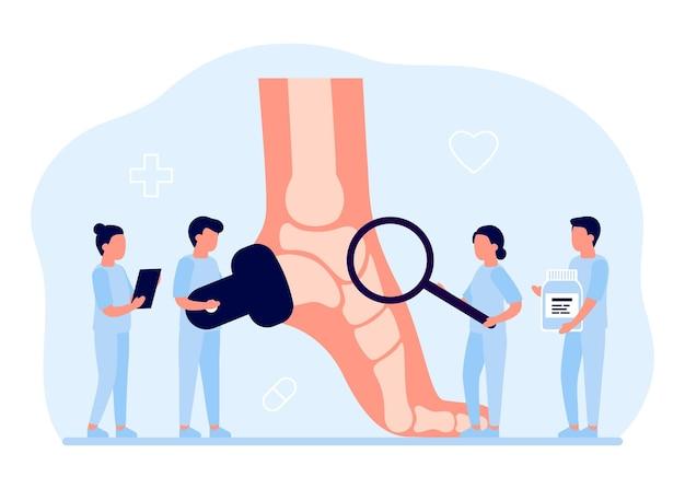 Осмотр здравоохранения стопы врача ортопеда с костями ортопед делает медицинскую диагностику ног
