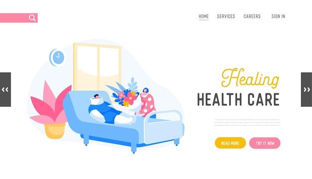 Health care in clinic department landing page template