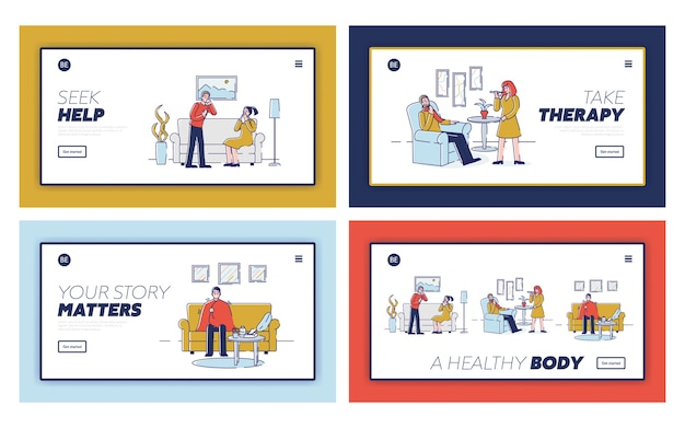 Здравоохранение, простуда и концепция лечения. целевая страница веб-сайта. больные люди дома с симптомами гриппа. набор веб-страниц мультфильм наброски линейный плоский s.