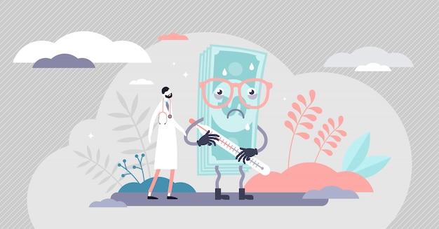 Health care crash concept, flat tiny person
