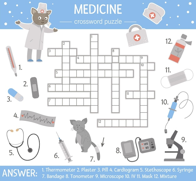 ヘルスケアクロスワードパズル。子供のための薬のクイズ。かわいい医療機器と医者との教育的な休日の活動