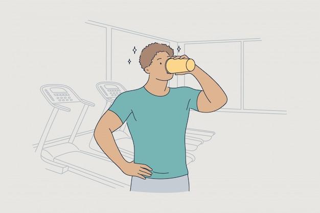 건강 관리 음료 훈련 스포츠 휴식 피트니스 개념