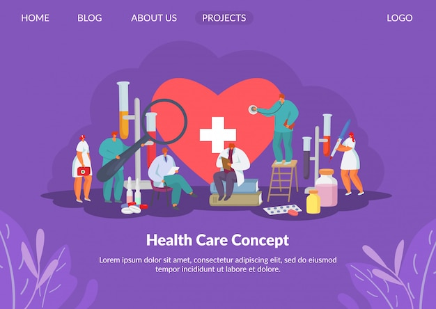 Health care for heart with doctors, medication research and medicine concept solution, tiny people character  illustration.