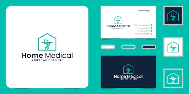 건강 관리 홈 로고 디자인 및 명함 영감