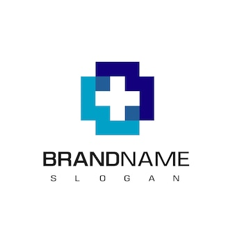 Health care, hospital logo with cross symbol