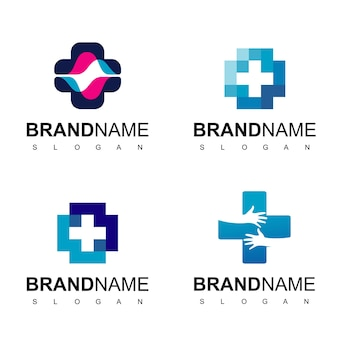 Health care, hospital logo with cross symbol