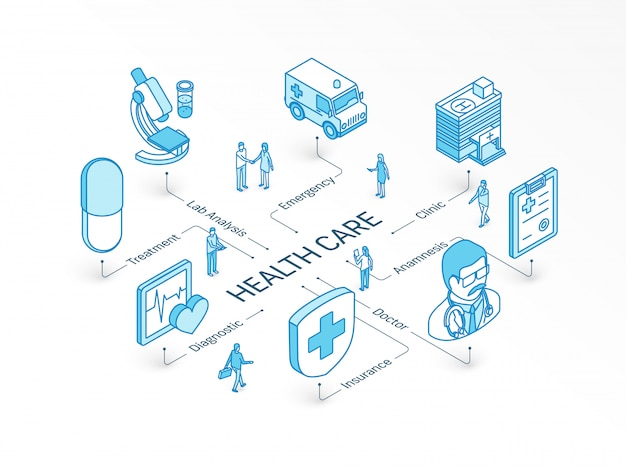 Health care isometric concept.  integrated infographic system. people teamwork. doctor, anamnesis, diagnostic, lab analysis symbol. treatment, insure, emergency clinic pictogram