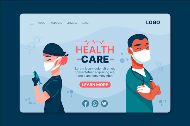 Health care landing page template