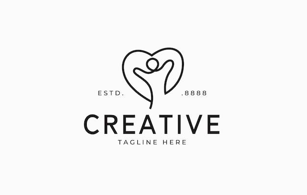 ヘルスケアのロゴデザイン人と心の抽象的なベクトルイラストを一行で