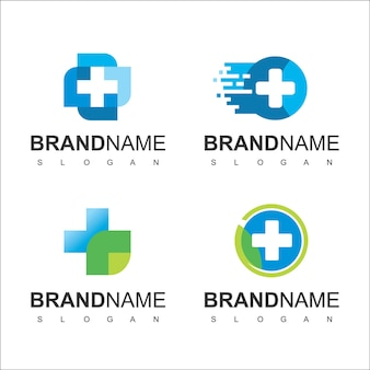 Логотип здравоохранения для медицинского центра с символом креста линии