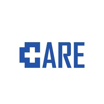 Health care logo for medical center with line cross symbol