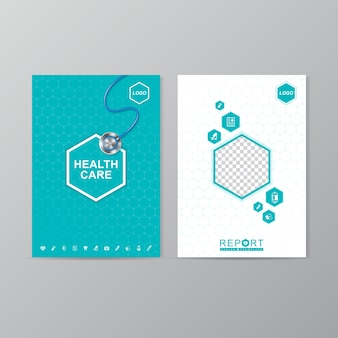 Health care and medical cover a4 report design template