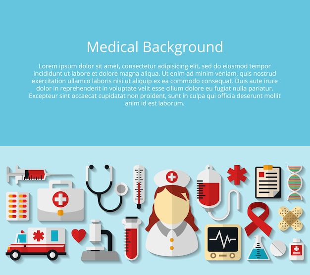 Health care and medical poster with sample text. microscope and dna, hospital and doctor, stethoscope and tube, drug and thermometer