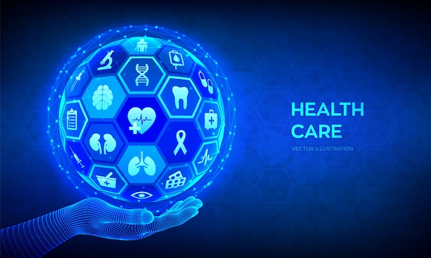 Health care and medical services concept. abstract 3d sphere or globe with surface of hexagons with icons in wireframe hand.