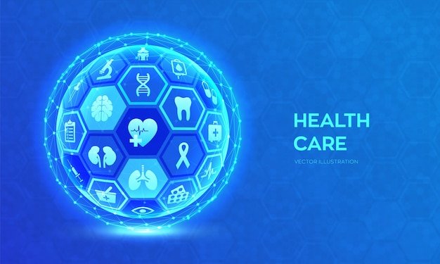 Health care and medical services concept. abstract 3d sphere or globe.