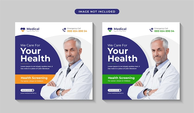 ヘルスケアまたは医療ソーシャルメディアポストデザインプレミアムベクトル