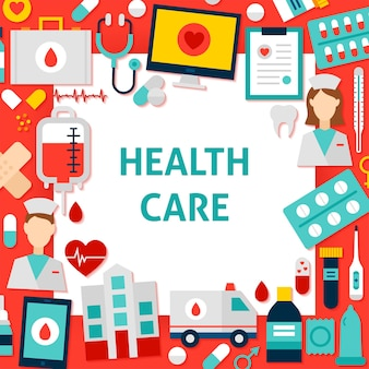 Health care paper template. vector illustration flat style business concept.