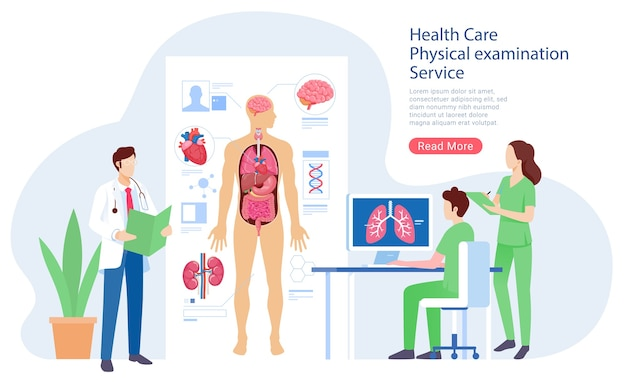 Health care physical system examination service illustration