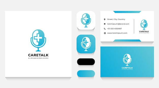 Health care talks logo template and business card