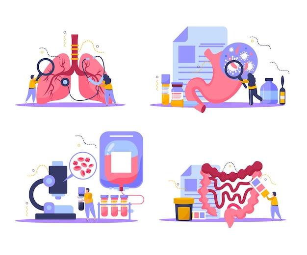 Набор иконок концепции медицинского осмотра с плоской изолированной иллюстрацией символов здравоохранения