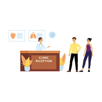 Health clinic reception front desk, female cartoon receptionist welcomes man and woman to hospital. young people at doctor's office for medicine and medical advice, isolated flat vector illustration