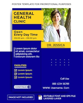 Health clinic theme poster template