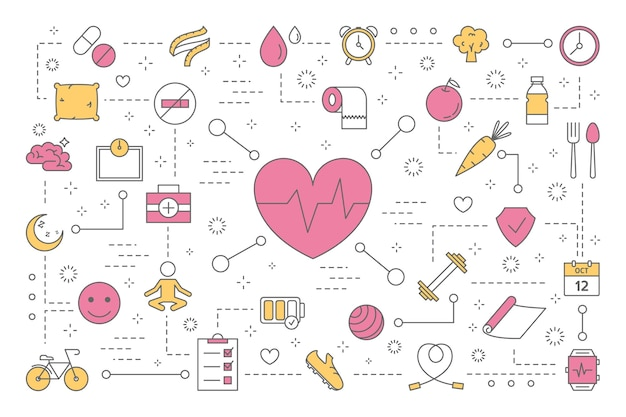 Health concept. idea of medical treatment and healthy lifestyle. doctor consultation and fresh food eating, doing fitness exercise. set of colorful line icons.    illustration