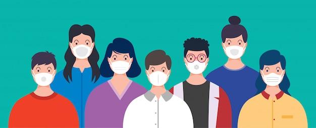 의료 마스크를 착용하는 사람들의 건강 개념