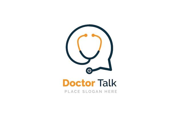 健康相談ロゴデザインテンプレート。バブルチャットシンボルで分離聴診器