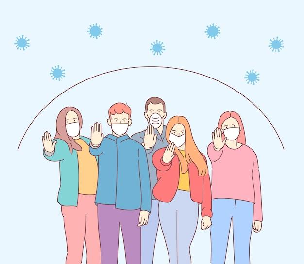 健康、コロナウイルス、ncov、covid、保護セットの概念。医療用マスクを着用している人々の群衆。