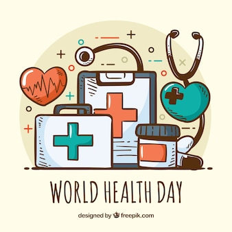 Health day background in hand drawn style