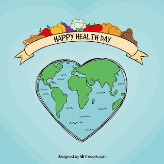 Health day background with world in hand drawn style