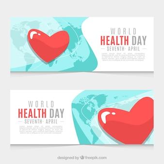 Bandiere di giorno salute con il cuore