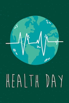 Health day celebration poster with earth and pulse