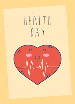 Health day celebration poster with heart cardio