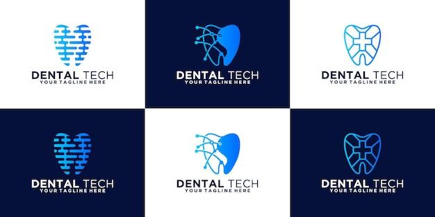 Health dental logo design inspiration, digital teeth and technology