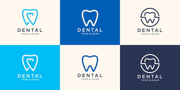 Health dental logo design   template linear style. dental clinic logotype.